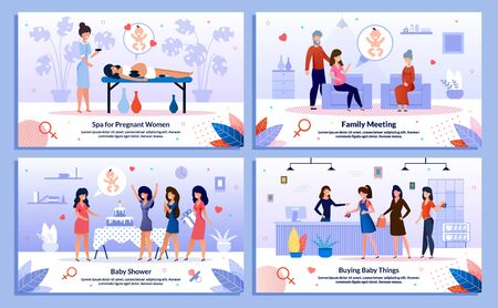 Shopping in Pregnancy, Pregnant Woman Spa, Family Support Trendy Flat Vector Banner, Poster Set. Lady Relaxing in Spa, Meets with Relatives, Having Fun on Party, Buying in Baby Store Illustration