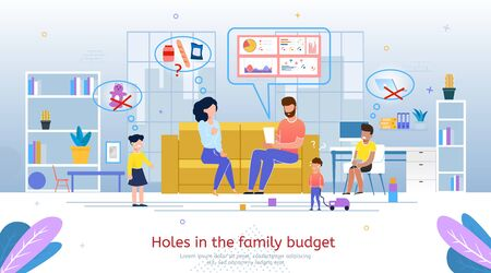 Holes in Family Budget, Planning Expenses in Financial Crisis, Cost Savings in Difficult Time Banner, Poster Template. Worried Wife and Husband Calculating Outgoings Trendy Flat Vector Illustration