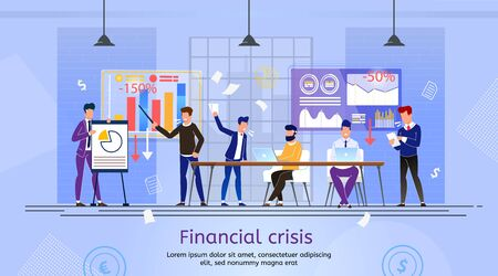 Company Crash in Financial Crisis Trendy Flat Vector Banner, Poster. Company Employees, Business Team Meeting in Office, Discussing Financial Problems, Arguing Because of Bad Indicators Illustration