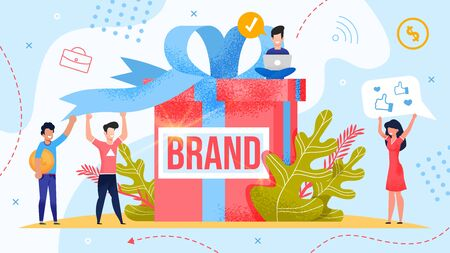 Brand Assessment, Test and Public Valuation Poster. Man and Woman Team Rejoicing Trademark Startup. Leader Launching Online Project. Tiny People Standing near Huge Gift Box. Vector Illustration 向量圖像