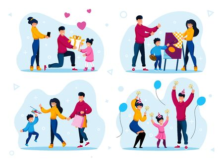 Family Holiday, Birthday Party, Child Education, Shopping on Sale Trendy Flat Vector Concept Set. Parents Giving Birthday Gift to Child, Visiting Drawing Lessons, Buying Toys, Having Fun Illustrations