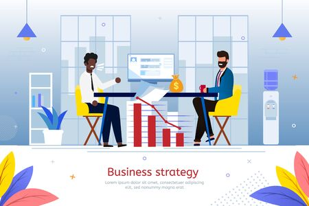 Business Strategy in Time of Financial Crisis, Bank Debt Restructuring Trendy Flat Vector Banner, Poster Template. African-American Businessman, Young Entrepreneur Asking Banker for Loan Illustration