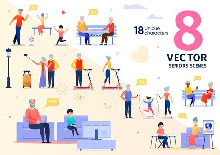Senior People Activities and Recreation Trendy Flat Vector Scenes Set. Elderly Man and Woman, Happy Grandparents Going on Travel, Riding Scooter, Resting with Friends and Grandchild Illustrations