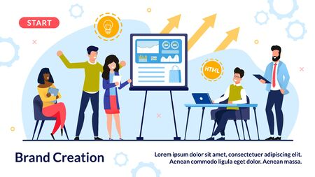 Team Engaged in Brand Creation Process in Office. Marketer Group Brainstorming, Discussing Marketing Strategy, Searching Idea Solution for Online Product Branding. Banner Design. Vector Illustration Illustration