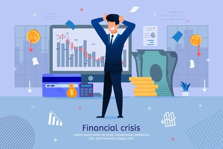 Financial Crisis Risks Trendy Flat Vector Banner, Poster Template. Stressed Businessman, Shareholder, Business Leader Worried Because of Company Bankruptcy Risk, Shares Price Falling Illustration