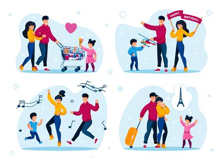 Family Leisure and Holiday Party Trendy Flat Vector Concept Set. Parents with Child Shopping in Supermarket, Celebrating Sons Birthday, Happy Dancing Together, Going on Vacation Journey Illustrations 向量圖像