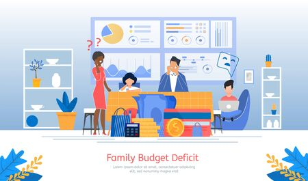Family Budget Deficit, Financial Problems, Unemployment or Income Loosing, Loan Payment Past Due Banner, Poster. Parents with Children Worried Because Lack of Money Trendy Flat Vector Illustration
