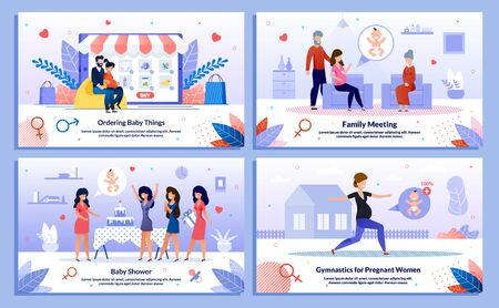 Active Pregnancy, Pregnant Woman Family Support, Baby Shower, Trendy Flat Vector Banner, Poster Set. Lady Buying Goods Online, Meets with Relatives, Having Fun on Party, Doing Exercises Illustration