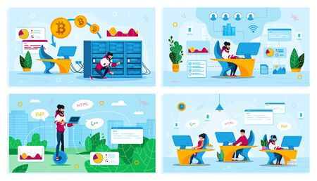 Online Business, IT Startup Personnel, Bitcoin Trading Trendy Flat Vector Concepts Set. Network Administrator in Office, Mining Farm Owner, Web Developers Team, Hipster Rides Unicycle Illustration