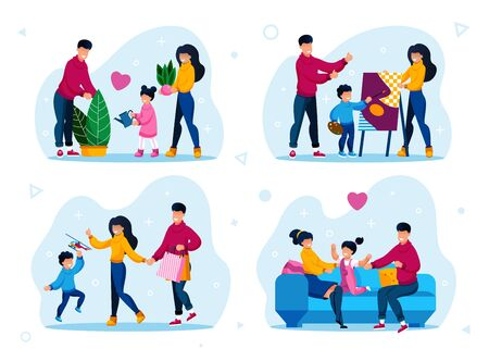 Happy Family Home Routines, Parenthood Activities Trendy Flat Vector Set. Parents with Children Watering Plants, Learning to Draw, Shopping on Sale, Resting Together at Home Isolated Illustrations