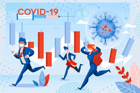 Stock Market Failure from Coronavirus Attack. World Investment Price Fall Down from  Virus Fear. Frustrated Shocked Businesspeople Run in Panic under Candle Trading Chart. Covid19 Text on Syringe