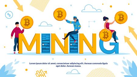 Cryptocurrency and Bockchain Mining Technology Advertisement Poster. Tiny Young Man and Woman Holding Bitcoin Sitting on Capital Letter. Digital Crypto Business in Mine Network Vector Illustration