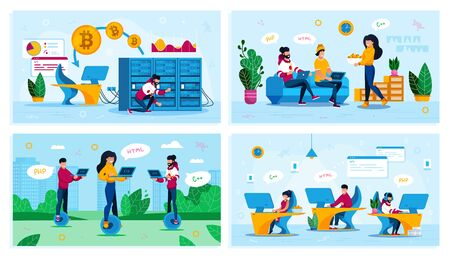 Software Developers Work and Leisure Trendy Flat Vector Concepts Set. Programmers Gathering at Home, Freelancers Working in Park, Man Servicing Mining Farm, Developers Team in Office Illustration