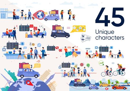 Traveling People, Family in Vacation Journey Trendy Flat Vector Scenes Set. Parents with Children Going in Car Trip, Riding Bicycles, Tourist Resting in Airport Cafe, Waiting Plane Illustrations Ilustración de vector