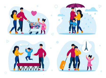 Family Active Life and Leisure Trendy Flat Vector Concepts Set. Parents with Children Buying Groceries in Store, Walking in Rain, Jumping on Trampoline, Traveling in Foreign Country Illustrations 向量圖像