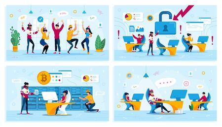 Corporate Party, Network Security, Bitcoin Trading, Employees Motivation Trendy Flat Vector Concepts Set. Dancing Coworkers, Employees in Panic, Miners Team, Procrastinating Programmer Illustration
