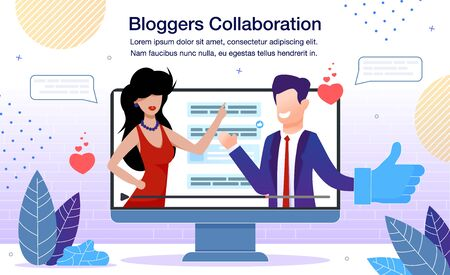 Lifestyle or Business Bloggers Collaboration Banner or Poster Template. Man in Business Suit and Woman in Evening Dress Talking Together in Video at Computer Screen Trendy Flat Vector Illustration