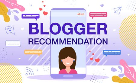 Blogger Recommendation, Brand or Company Advertising with Mention by Live Streamer, Marketing Strategy for Social Media Concept. Woman Streaming Video with Smartphone Trendy Flat Vector Illustration