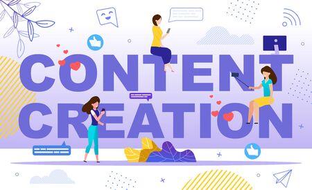 Création de contenu populaire pour les médias sociaux, création d'un blog avec beaucoup d'abonnés, démarrage du concept de chaîne Vlog. Personnage de femmes visionnage de vidéos en ligne, prise de vue Selfie Trendy Flat Vector Illustration