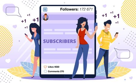Content Viewer Positive Feedback, Subscribers Reaction and Appreciation Concept. Blogger Followers Man, Women Characters Reading Post Online, Liking and Sharing Content Trendy Flat Vector Illustration Vettoriali