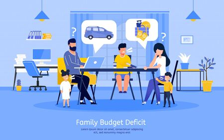 Family Budget Deficit, Planning Expenses with Limited Income, Financial Problems Banner, Poster. Sad Parents Decided to Save Money, Refusing from Summer Vacation Travel Trendy Flat Vector Illustration Vettoriali