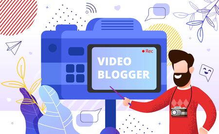 Man Trainer Vlogger Sharing Video Blogger Secrets and Recommendation Standing near Camera on Stick. Vlog Creation Film Production. Motion graphic education. Marketing Strategy and Content Advice