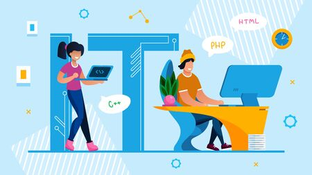 It Specialist Team. Technical Service and Support Advertisement. Man and Woman Programmer, Designer, System Administrator Brainstorming, Coding, Computing HTML Language. Vector Illustration