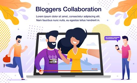 Travel or Lifestyle Bloggers Collaboration Banner or Poster. Man and Woman Streaming Live Video from Touristic Journey, Subscribers Watching Broadcast in Internet Trendy Flat Vector Illustration Vettoriali