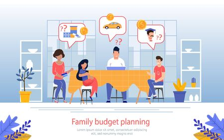 Family Budget Planning, Managing Income and Outgoings, Calculating Needs for Future Month Banner, Poster. Worried Parents with Sad Children Talking About Expenses Trendy Flat Vector Illustration Vettoriali
