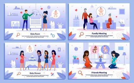 Baby Shower, Pregnant Woman Relationships, Family Support, Trendy Flat Vector Banner, Poster Set. Lady Decorating Baby Room, Meets with Relatives, Having Fun on Party, Talking with Friend Illustration