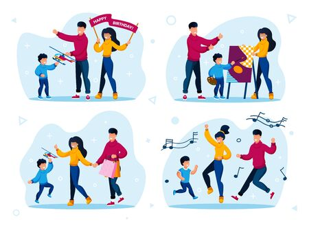 Parents with Children Active Life Trendy Flat Vector Concepts Set. Parents with Children Giving Son Toy on Birthday Party, Learning to Draw, Shopping on Sale, Dancing Together Isolated Illustrations 向量圖像