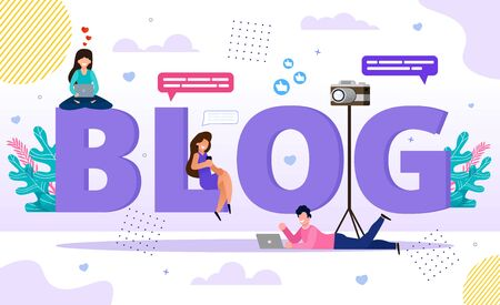Blog Word Letters with Happy Tiny People Bloggers and Followers Using Smartphone and Laptop for Browsing, Video and Post Content Creation. Online Business E-Commerce and Communication Technology