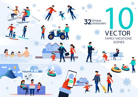 Family Winter Outdoor Activities and Recreation Trendy Flat Vector Scenes Set. Parents with Children Resting on Ski Resort, Walks Outdoor, Making Snowman, Ordering Airline Tickets Online Illustrations Vettoriali