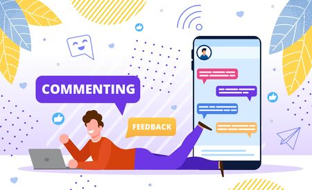 Commenting Online Content Concept. Blogger Follower, Subscriber, Online User, Man Commenting Post in Social Network, Chatting in Internet, Sharing Content for Friends Trendy Flat Vector Illustration Vettoriali