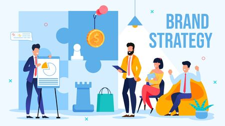Businessman Offer New Brand Strategy on Briefing Meeting. Man Speaker Presenting Innovative Creative Plan for Branding Showing Project Benefits. Conference, Presentation. Vector Illustration Vettoriali