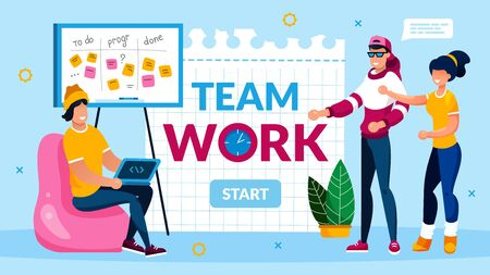 Teamwork Collaboration and Support Motivation. Programmer Team Support and Help Coworker with Deadline. Software Development and Optimization. Banner with Start Button. Vector Illustration