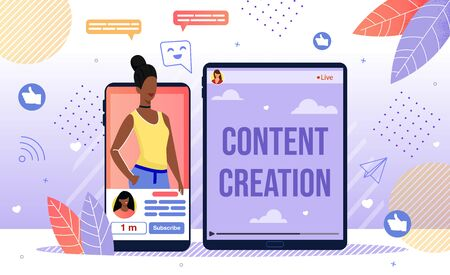 Popular Content Author, Successful Blogger Career, Blog Creation and Online Promotion Concept. African-American Woman Vlogger, Live Steamer Profile on Smartphone Screen Trendy Flat Vector Illustration Vettoriali