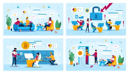 Distant Work, Online Security, Bitcoin Trading, Trendy Flat Vector Concepts Set. Employees in Panic Because of Computers Breakage, Cryptocurrency Miners, Programmers Team Working at Home Illustration 向量圖像