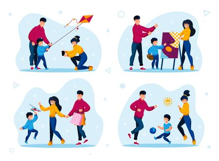 Happy Family Life Activities and Healthy Lifestyle Trendy Flat Vector Concepts Set. Parents with Child Launching Kite, Drawing Painting, Playing Football, Shopping on Sale Isolated Illustrations