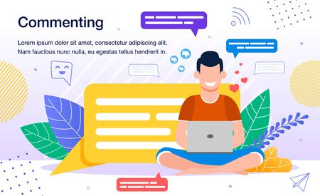 Commenting in Social Networks, Online Audience Activity Banner, Poster Template. Computer User, Man Leaving Feedback, Sharing Opinion, Writing Message in Social Media Trendy Flat Vector Illustration