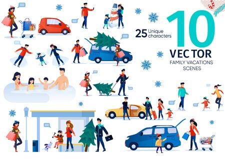 Family Winter Holidays Vacation Entertainments Trendy Flat Vector Scenes Set. Parents with Children Buying Christmas Tree, Going on Shopping, Making Snowman, Traveling with Baggage Illustrations