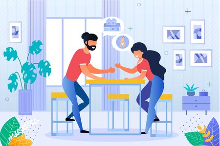 Happy Husband and Wife Discussing Future Plan. Man and Woman Married Couple Planning House Purchase and Pregnancy Beginning. Newlyweds Sitting at Table in Home Living Room. Vector Illustration