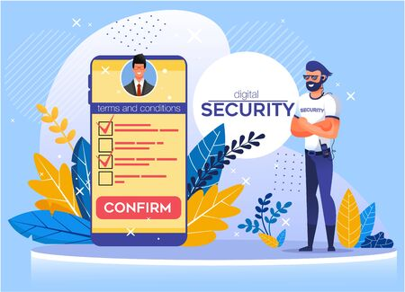 Application for Mobile Offering Digital Security. Protection Business Data and Personal Information. Huge Phone Screen with Term and Condition List. Confirm Secure Access. Man Safeguard Illustration
