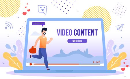 Popular and Trendy Video Content, Live Streaming Hobby, Social Media Viewer Concept. Man Hurrying to Watch New Video, Blogger Follower, Subscriber Liking and Sharing Content Flat Vector Illustration Vettoriali
