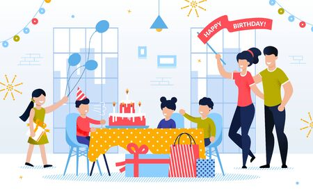 Happy Kid Birthday Celebration with Family and Friend. Boy Child Blowing Candle on Festive Cake. Children Giving Gift. Mother and Father Congratulate Son. Decorated Room Interior. Vector Illustration