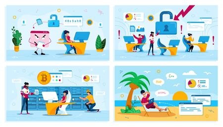 Online Security, Network Breakage, Bitcoin Trading, Digital Nomad Trendy Flat Vector Concepts Set. Trojan Stealing Data, Employees in Panic, Mining Farm Owners, Freelancer Works on Beach Illustration