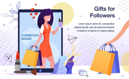 Blogger Audience Engaging, Product for Women Makeup Advertising, Cosmetics Brand Promotion, Marketing Campaign with Gifts for Company Blog Follower Banner, Poster Trendy Flat Vector Illustration 版權商用圖片 - 148488566