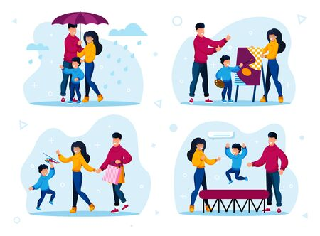 Family Outdoor Recreation and Hobby Activities Trendy Flat Vector Concepts Set. Parents with Child Walking in Rain, Visiting Drawing Lessons, Jumping on Trampoline, Shopping on Sale Illustrations