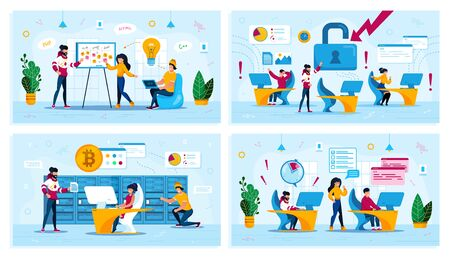 Startup Planning, Hacker Attack, Bitcoin Trading, Time Management Trendy Flat Vector Concepts Set. Developers Meeting, Employees in Panic, Mining Farm Owners, Programmers Failing Deadline Illustration