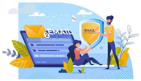Email Protection by Innovative Digital Technology. Man Giving Shield to Woman Sitting on Huge Laptop with Two Incoming Mail Envelop. Online Safety, Secure Communication, Privacy. Vector Illustration
